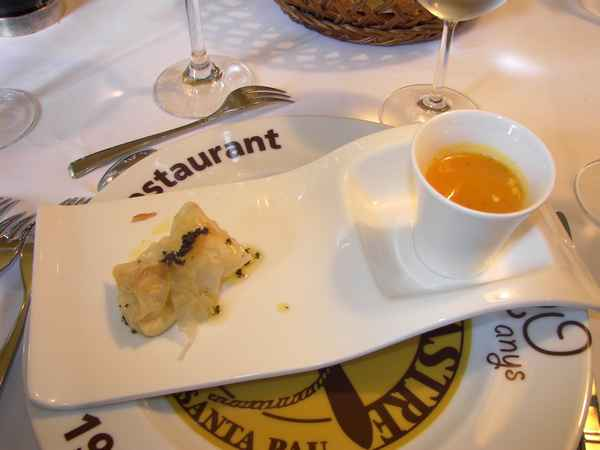 Garrotxa cheese and Girona truffle oil with pumpkin soup at Cal Sastre