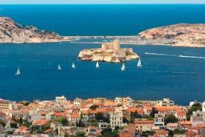 Aerial view of Chateau d If, Marseille Bay