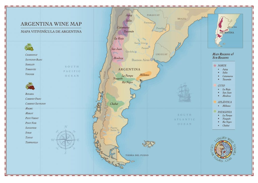 Argentinian Wine Regions Map » Cellar Tours
