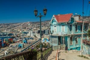 Colorful house on hills surrounding Valparaiso