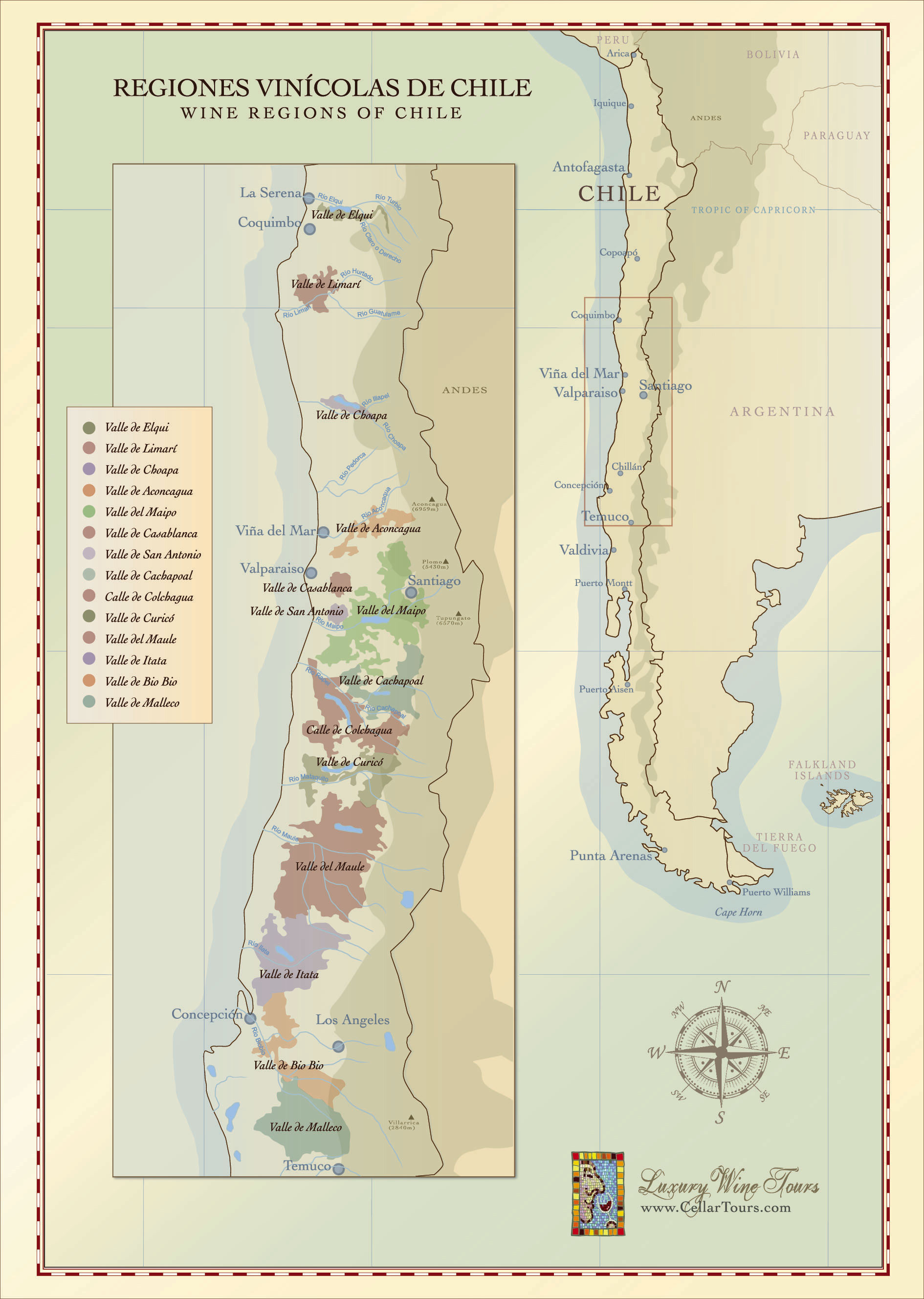 Chilean Wine Regions Map Incl Aconcagua Maipo Valleys - Us wine regions map