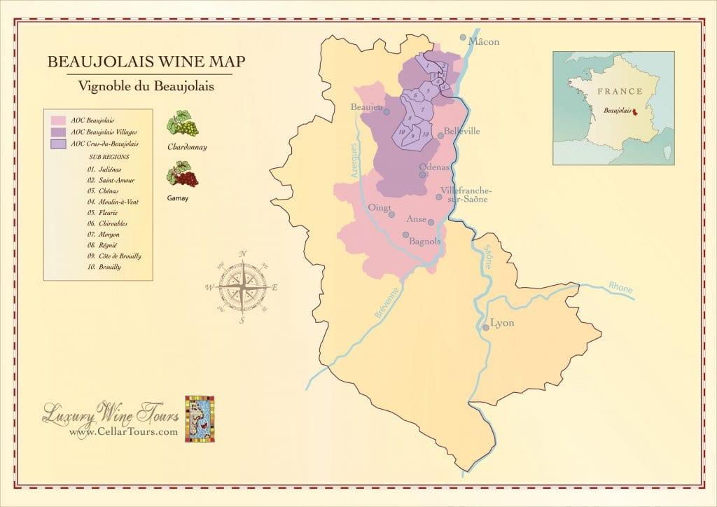 Mapa de la región del vino de Beaujolais