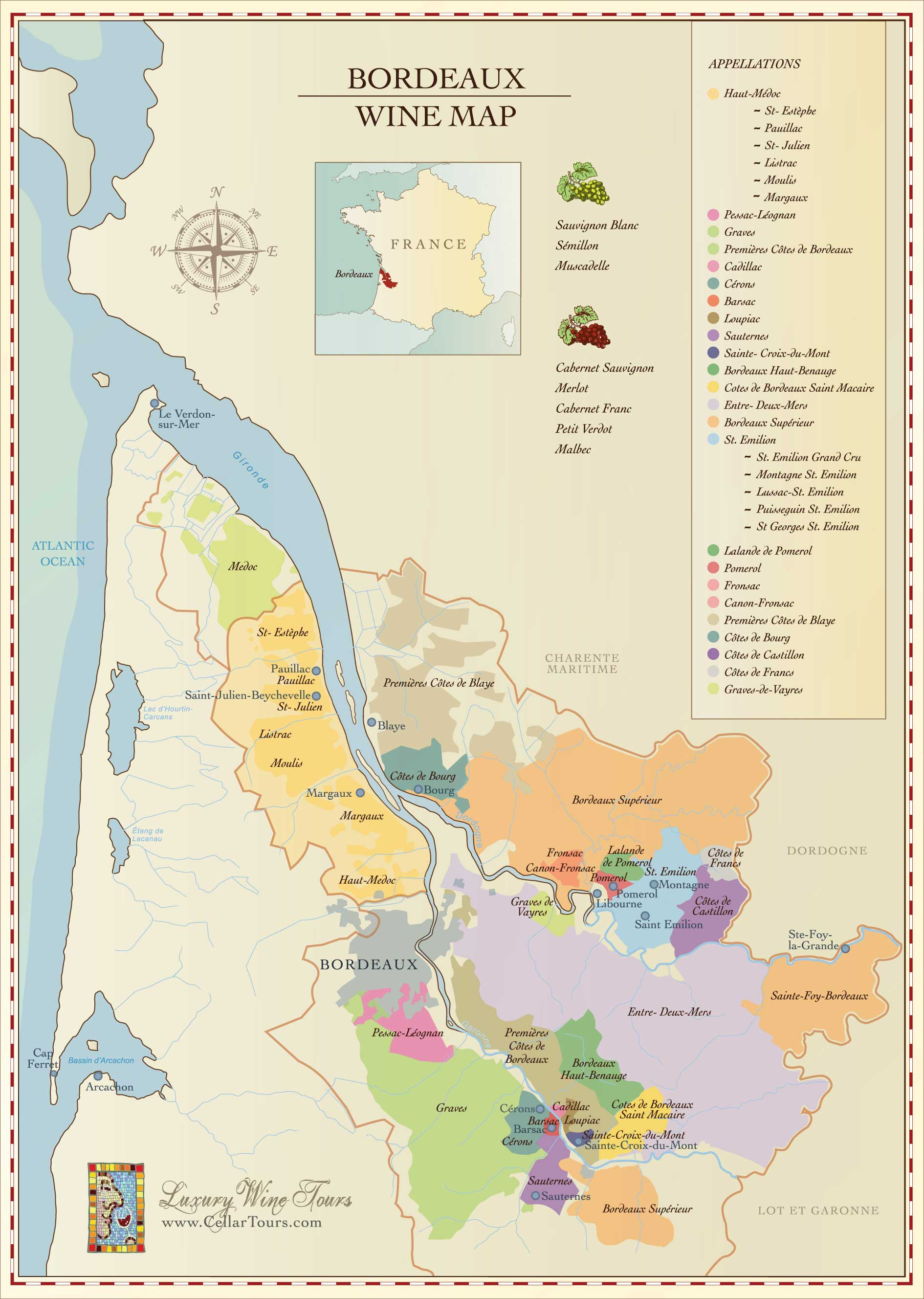 Mapa de la región del vino de Burdeos
