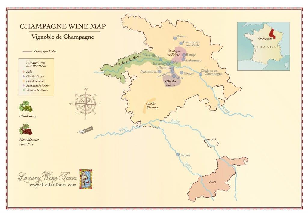 Mapa de la región del vino de Champagne
