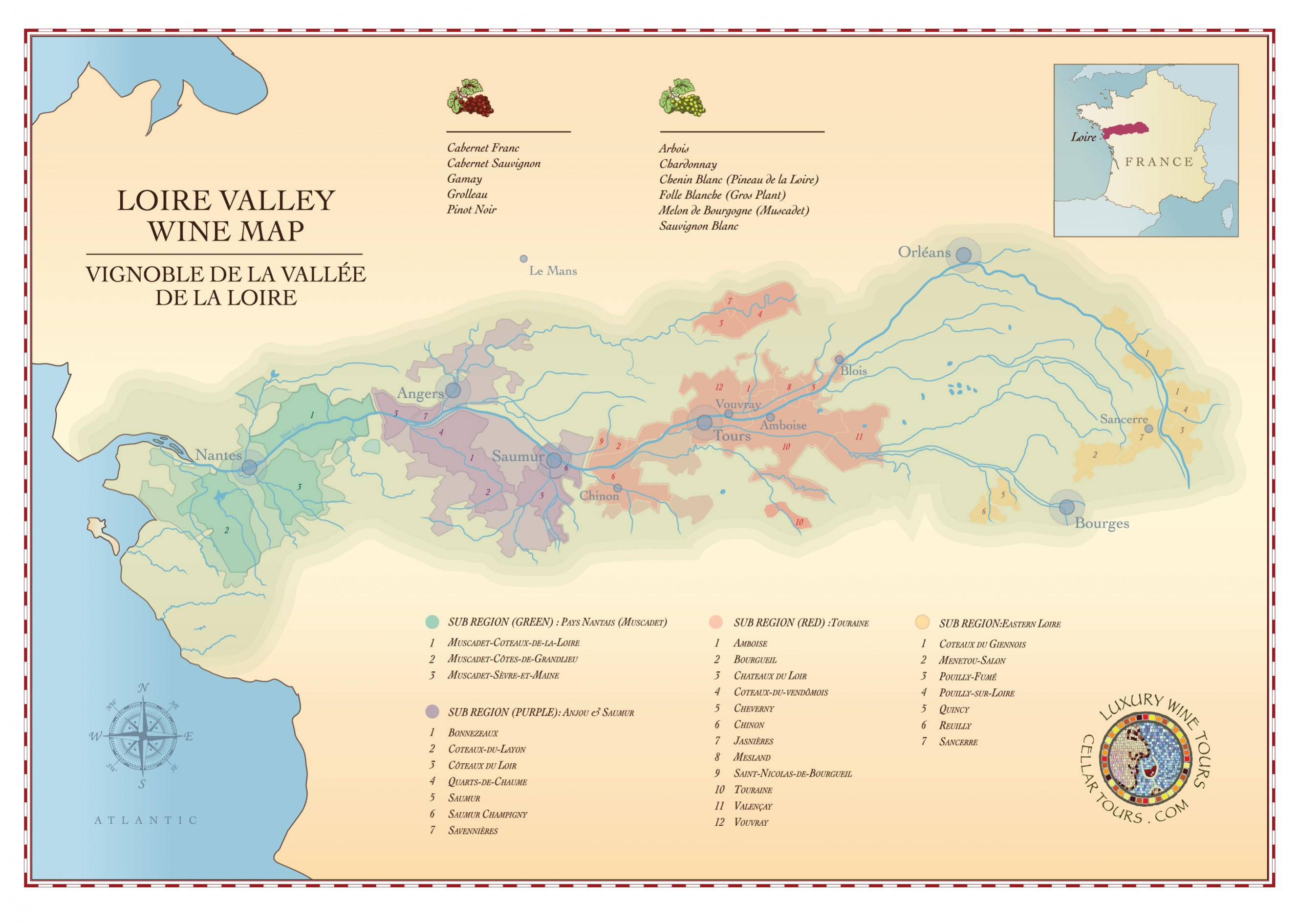 Mapa de la región del vino del Loira