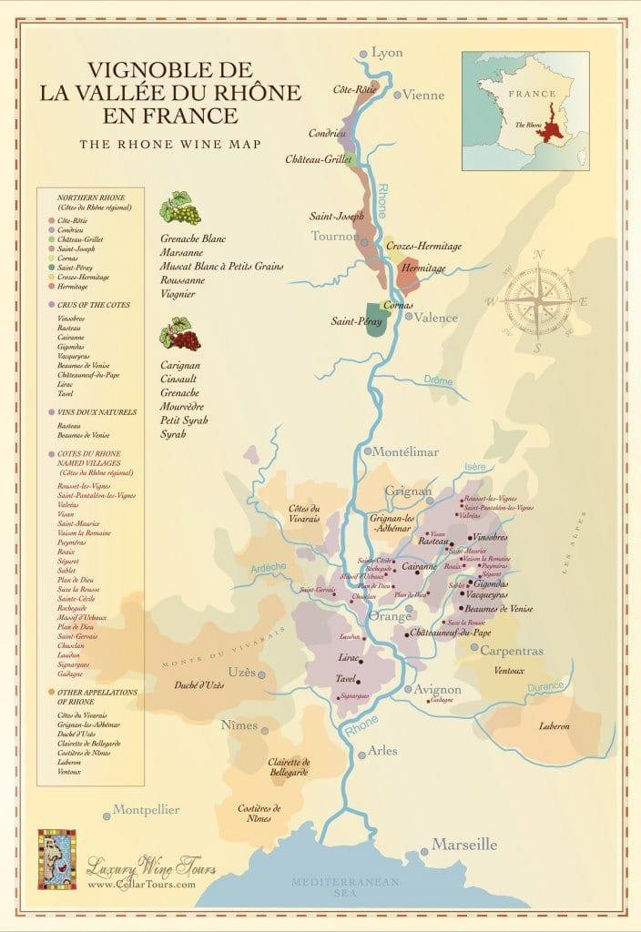 Mapa de la región del vino del Ródano