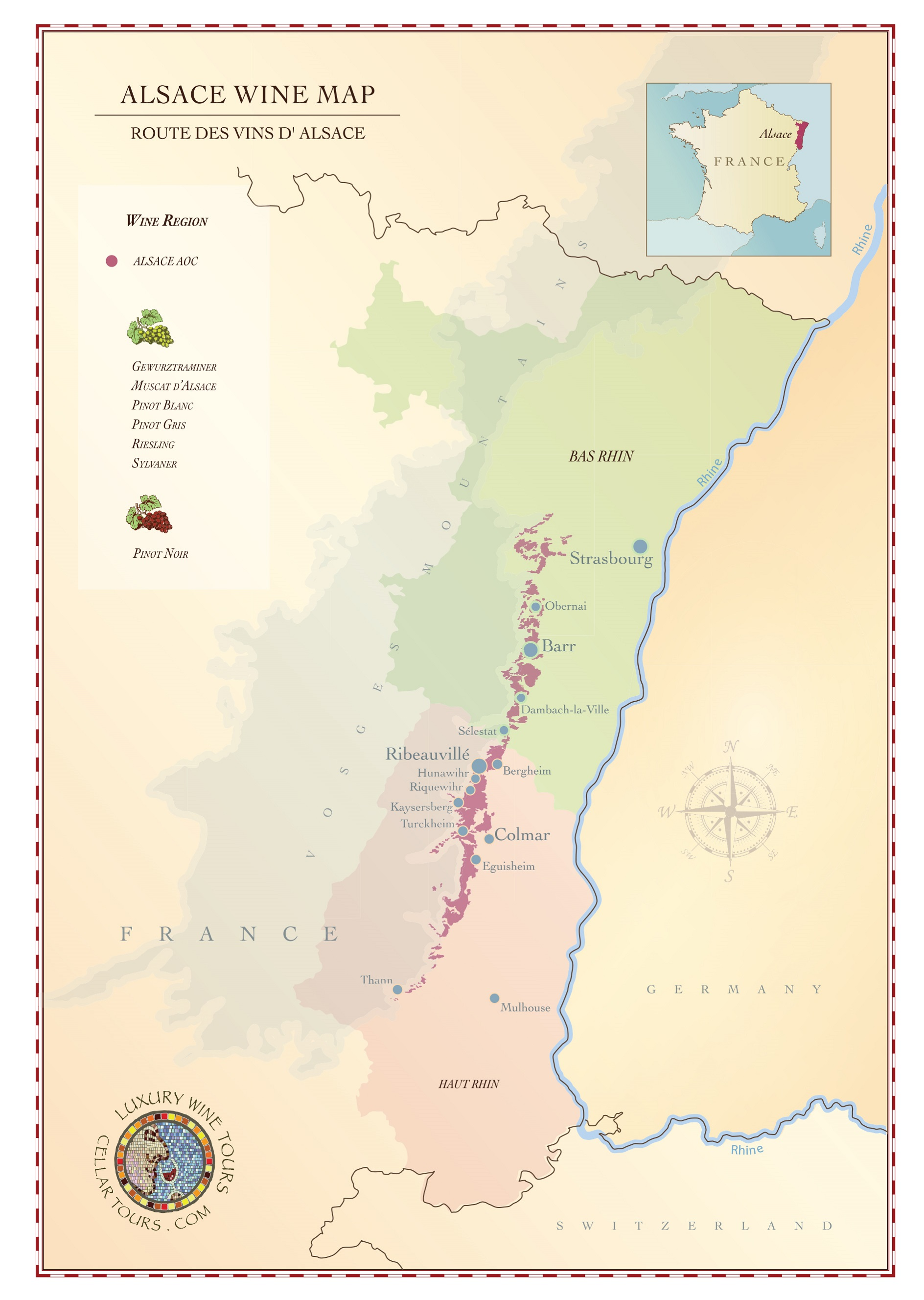 Alsace Wine Region Map