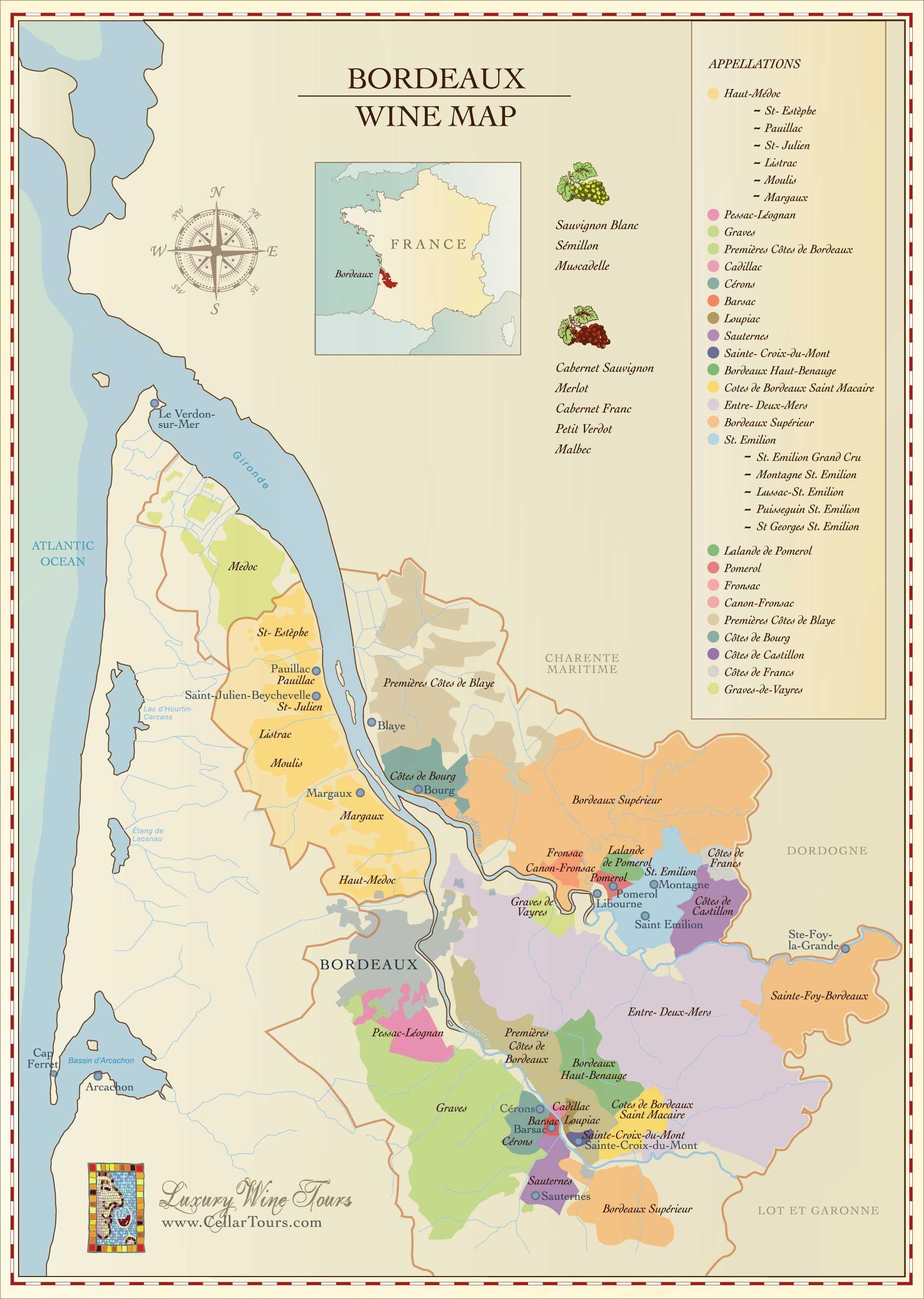 Bordeaux Wine Region Map  CellarTours