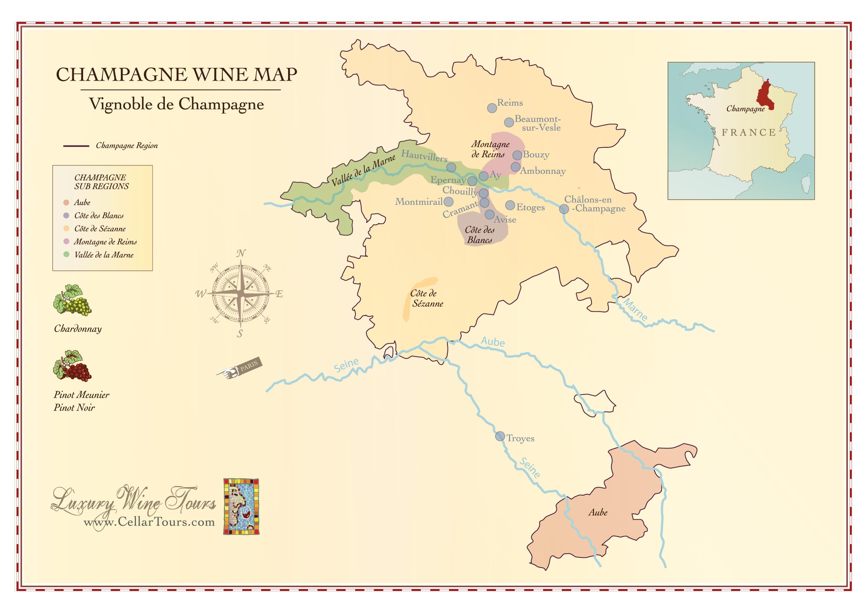 Wine Region Map Of France.Champagne Wine Region Map Cellartours
