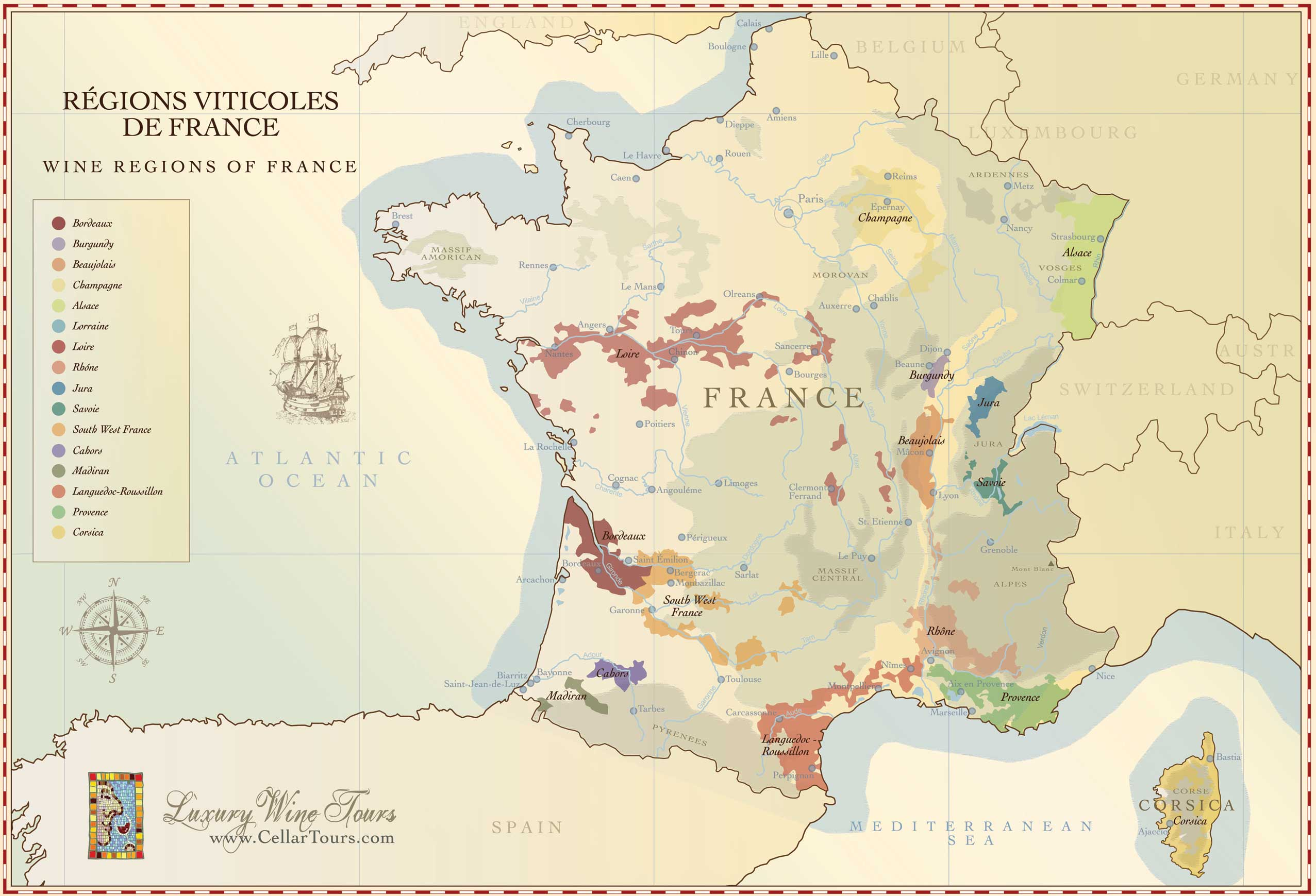 French Wine Regions Maps Hand Crafted Illustration CellarTours - Us wine regions map