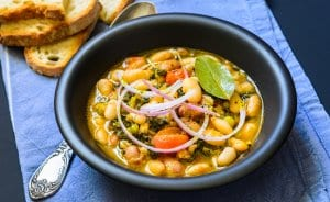 Typical Tuscan soup w/ vegetables, cannellini beans, cavolo nero, bread