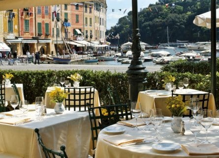 Dine overlooking the harbor in Portofino
