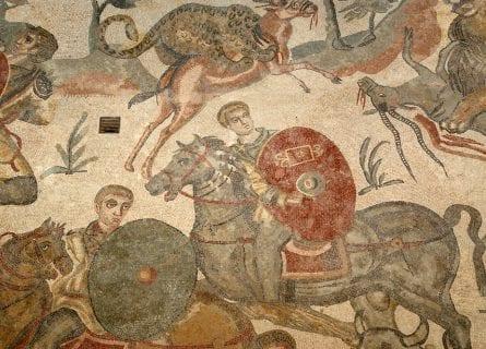 Mosaic tile in Villa Romana del Casale