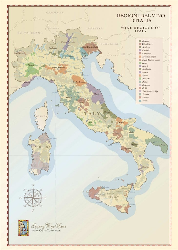 Regions Italy Map.Italian Wine Regions Map Handcrafted Illustration Cellar Tours