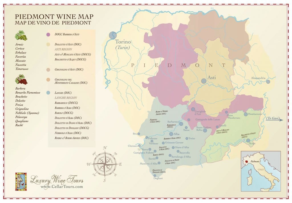 Wine Region Italy Map.Piedmont Wine Regions Map Cellartours