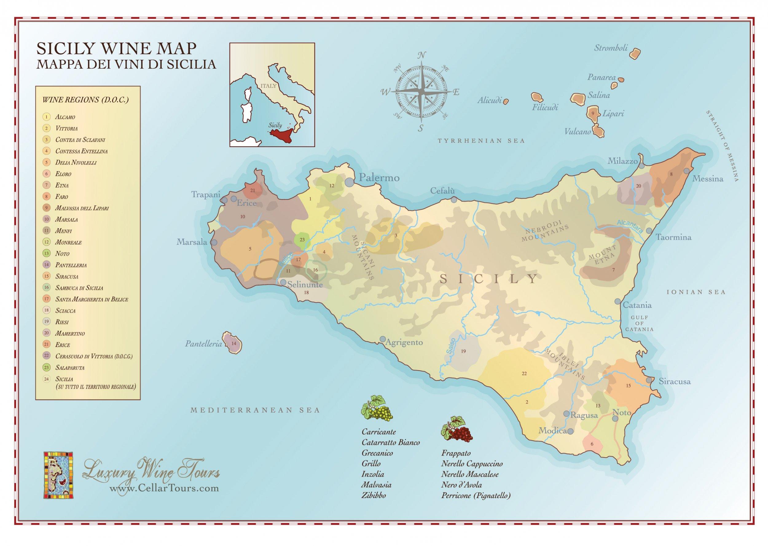 Sicily Wine Region Map » CellarTours