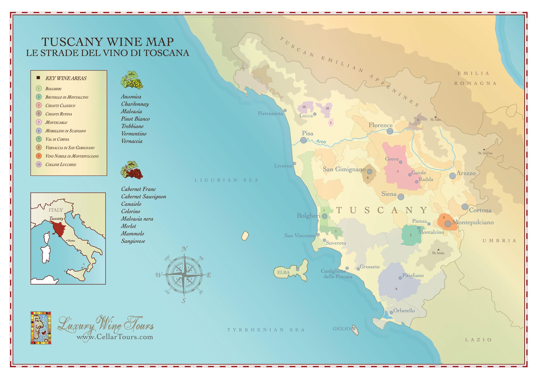 Tuscany Wine Region Map CellarTours - Tuscany region map