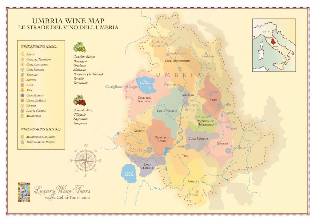 Wine Region Italy Map.Umbria Wine Region Map Cellartours