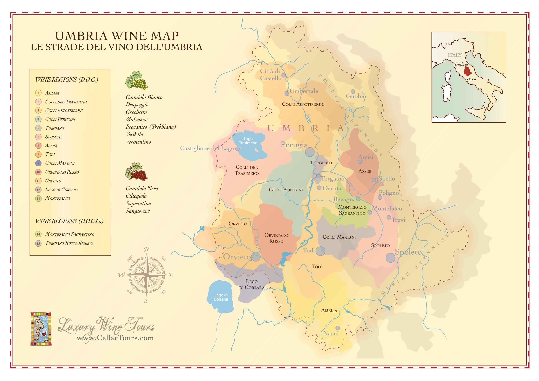 Umbria Wine Region Map