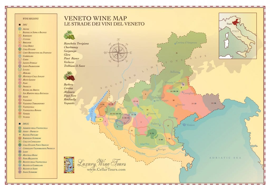 Veneto Wine Region Map CellarTours