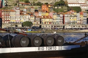Casks of Port wine on Douro river