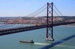 Almada Suspension Bridge, connecting Peninsula to Lisbon