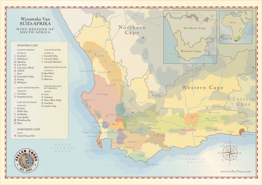 Map Of Africa Regions.South Africa Wine Regions Map Cellartours