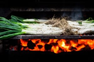 Calcots, scallons cooked on grill