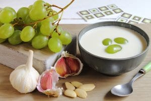 Ajo Blanco, cold soup made with almonds and garlic