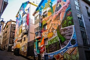 Murals on modern builds in Vitoria