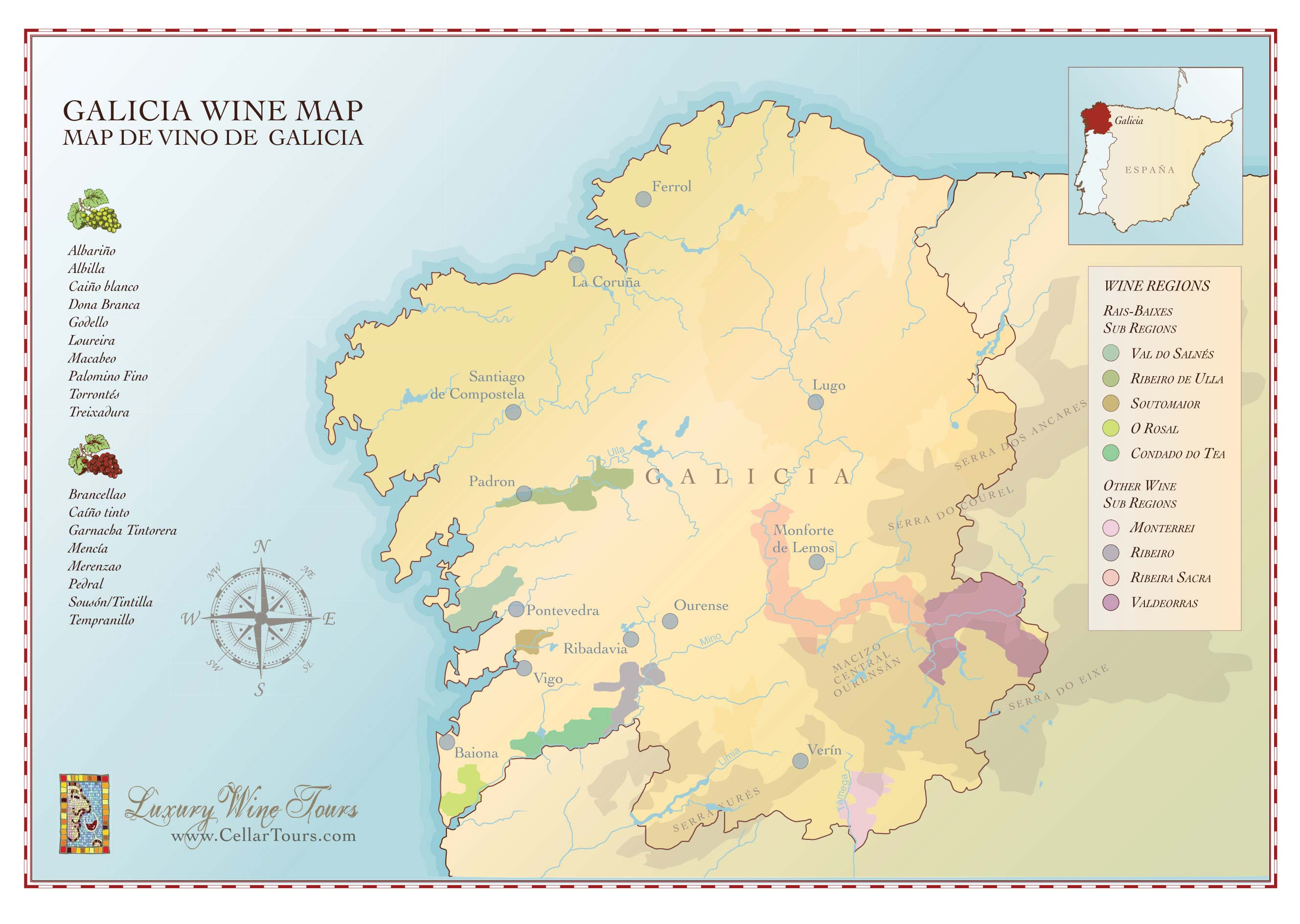 Galicia Wine Region Map CellarTours - Spain regions map