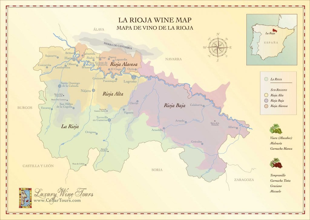 Rioja Wine Map Spains Most Famous Wine Region CellarTours