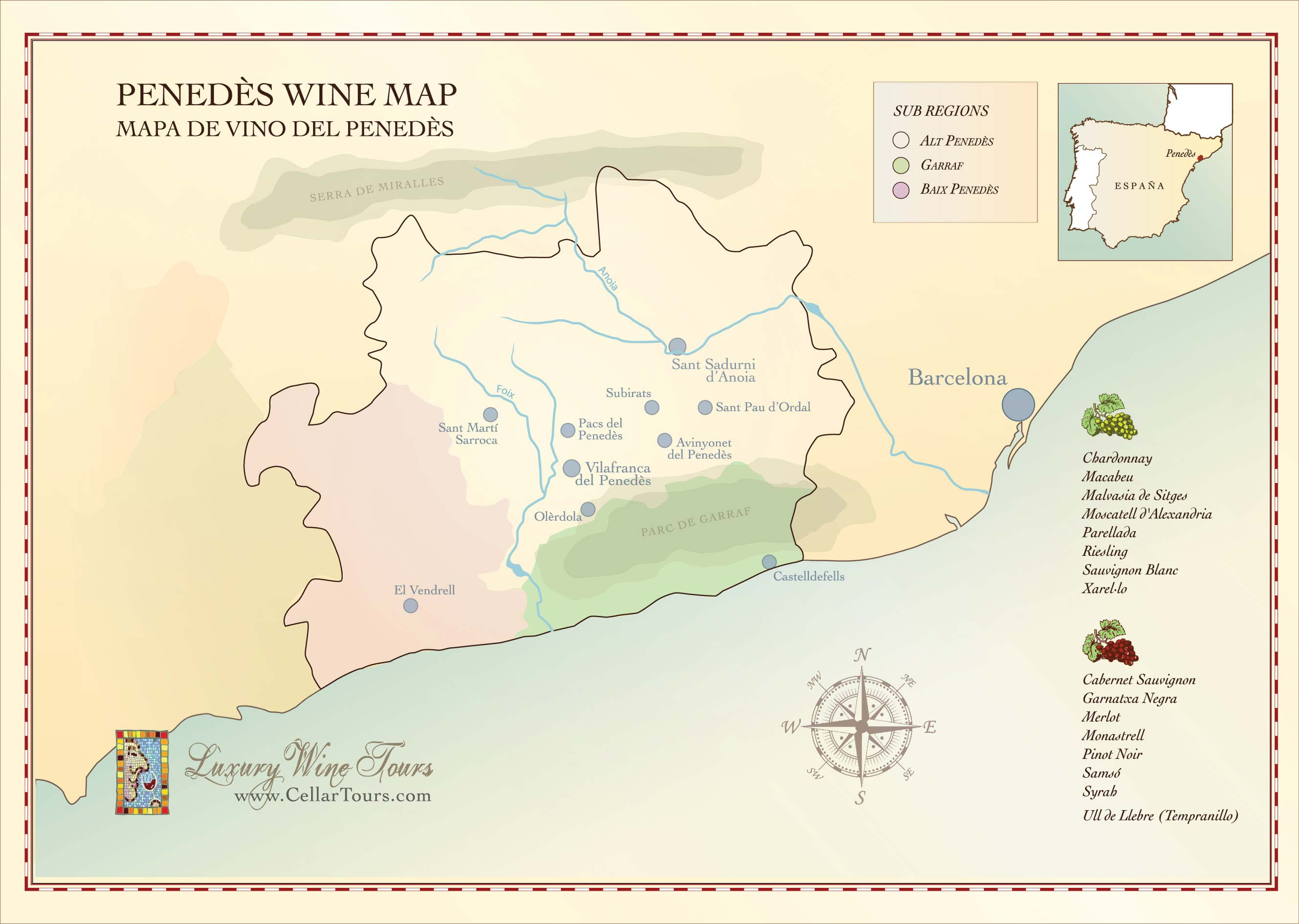 Penedes Wine Region Map
