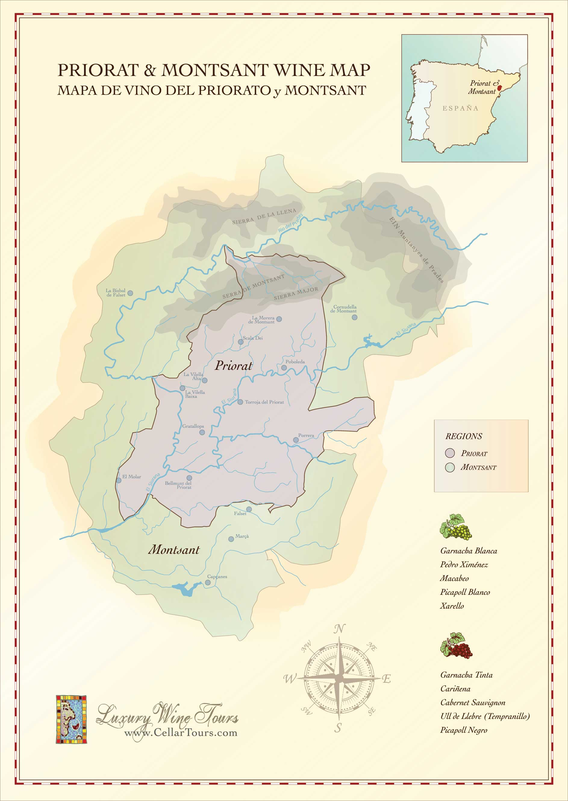 Priorat & Montsant Wine Region Map