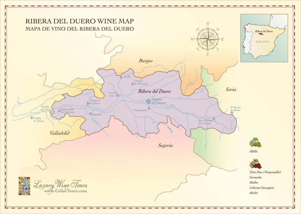 Ribera del Duero Wine Region Map