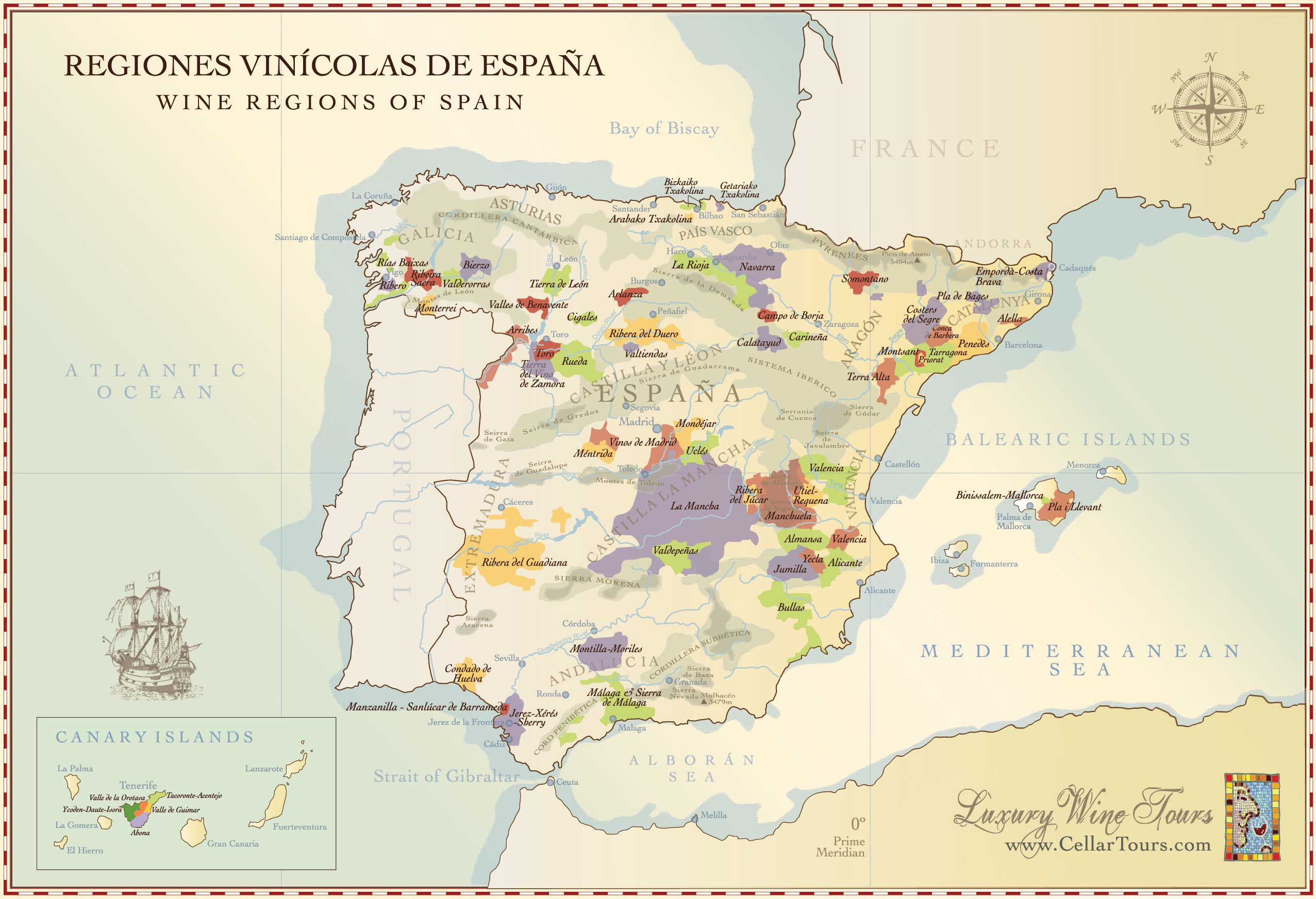 Map Of Spain Wine Regions DOCs CellarTours - Spain regions map