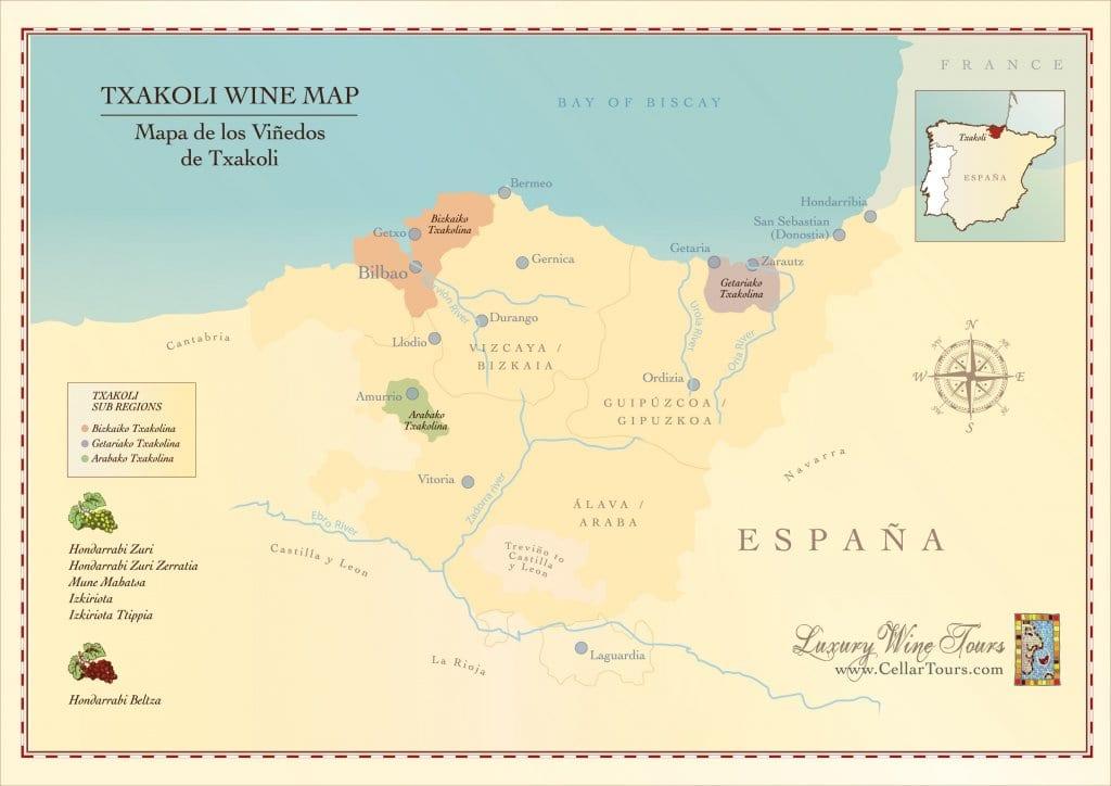 Txakoli Wine Region Map 187 Cellar Tours